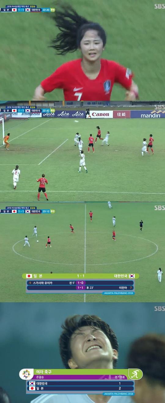 한국 일본 아시안게임 여자축구 4강 후반전