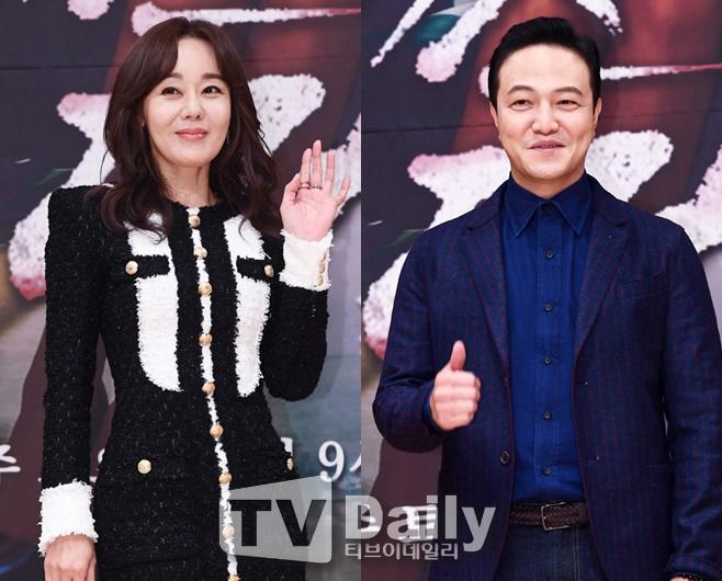 미스 마 복수의 여신 제작발표회 김윤진(왼쪽)과 정웅인(오른쪽)