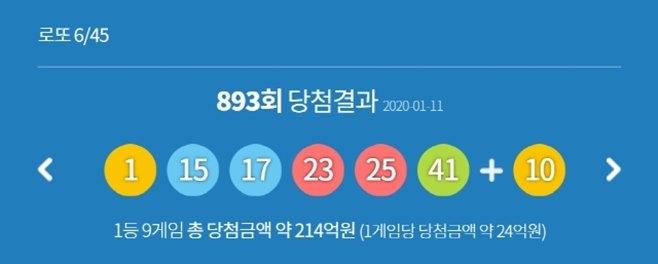 로또893회당첨번호
