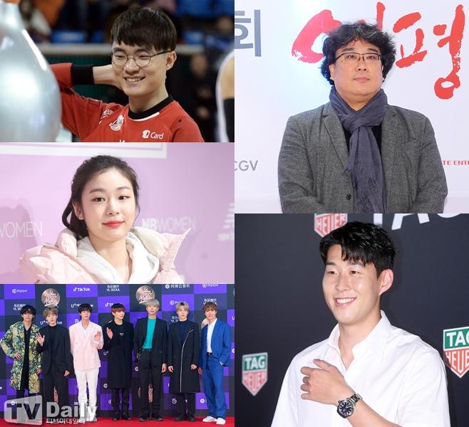 왼쪽부터 시계 방향으로 페이커, 김연아, 방탄소년단(BTS), 손흥민, 봉준호
