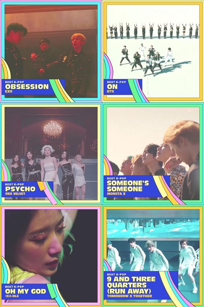 2020 VMA, 베스트 K팝 부문 후보
